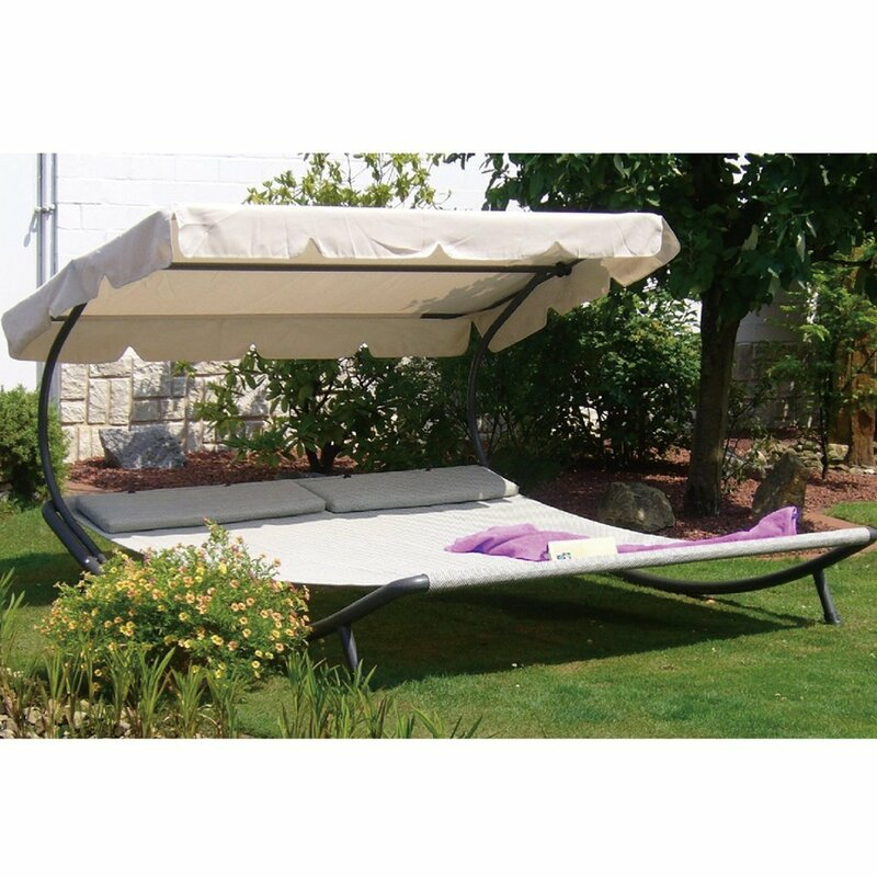 Abba Patio Outdoor Portable Double Chaise Lounge With Sun Shade