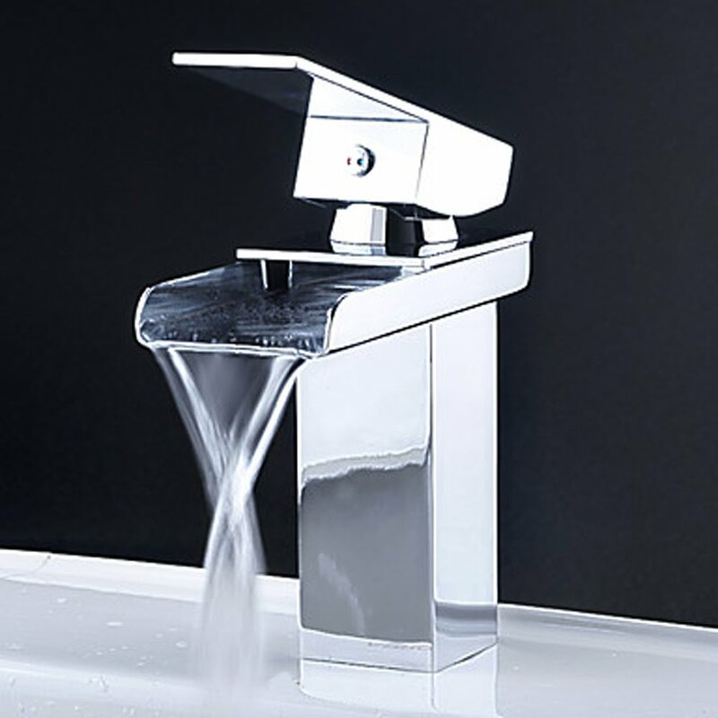 Kokols Single Handle Single Hole Waterfall Bathroom Sink Faucet