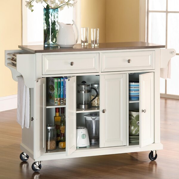 Darby Home Co Pottstown Kitchen Island With Stainless Steel Top U0026 Reviews |  Wayfair