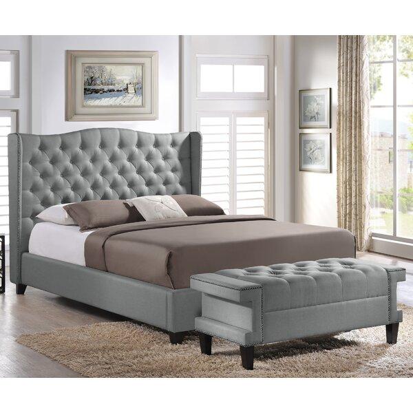 Rosdorf Park Licata Upholstered Platform Bed And Bench Set Reviews Wayfair