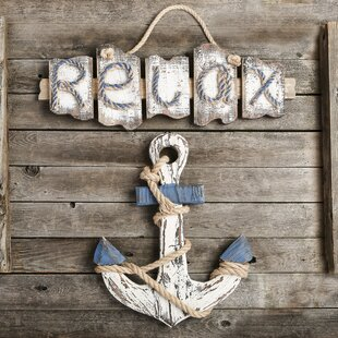 2 Piece Distressed Look Beach Theme Wall Decor Set