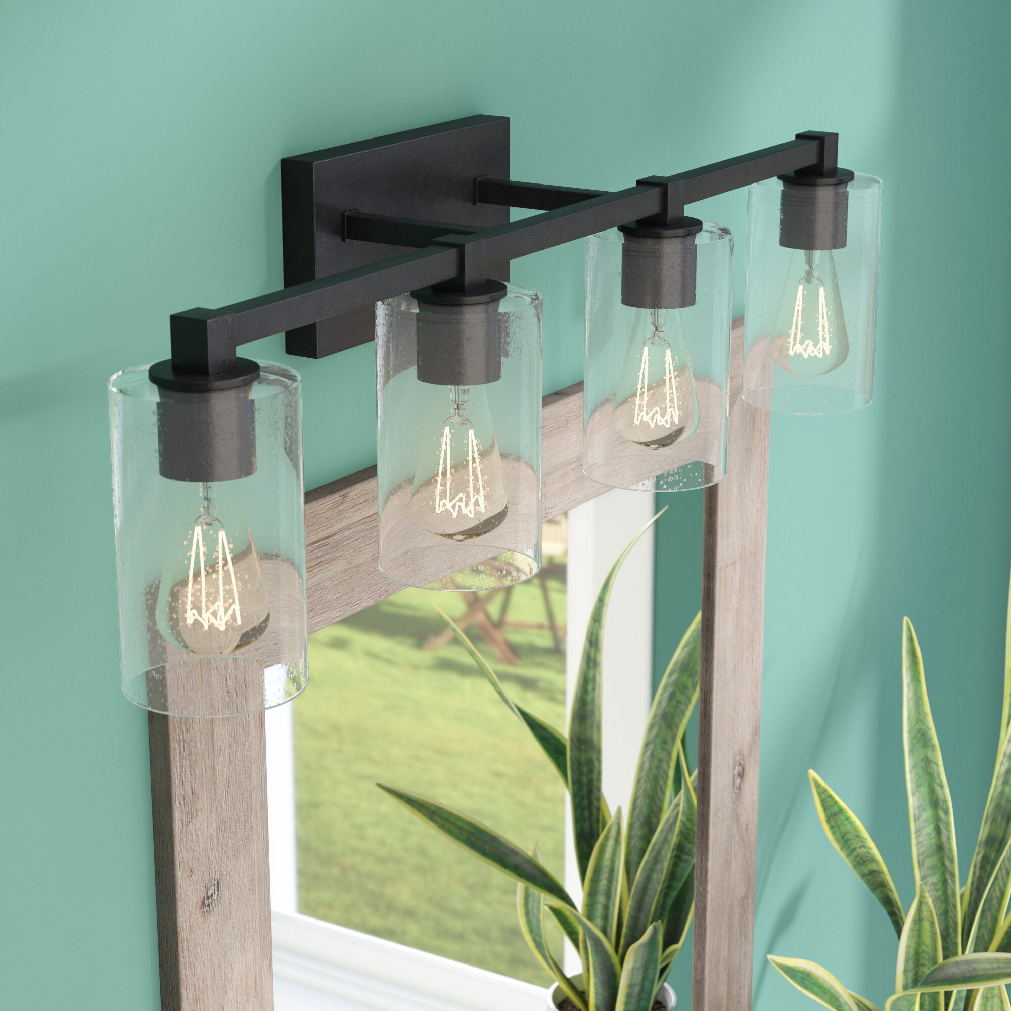 Union Rustic Mcdowell 4-Light Vanity Light with Clear Seeded Glass ...