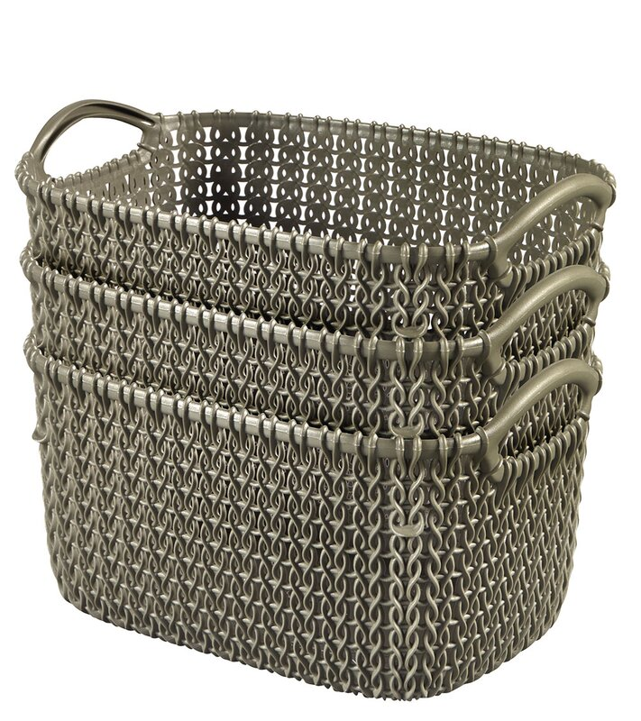 Curver Sand Knit Storage Baskets: Keter Curver Knit Rectangular Nesting Plastic Basket
