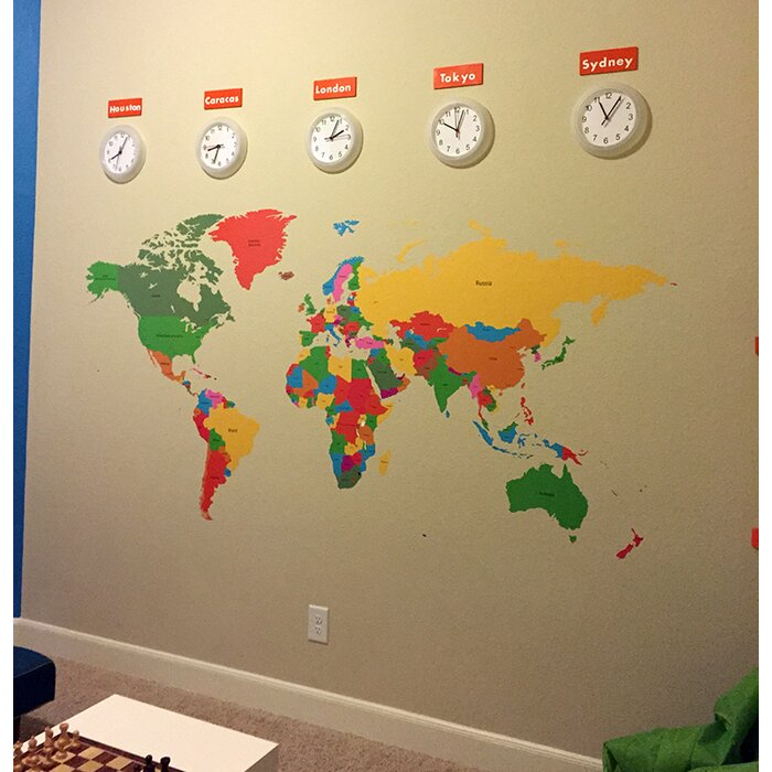 pop decors educational world map for kids room wall decal wayfair ca rh wayfair ca IKEA World Map Room Map World Travel Room