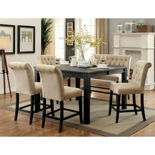 Duley Rustic Counter Height Solid Wood Dining Set