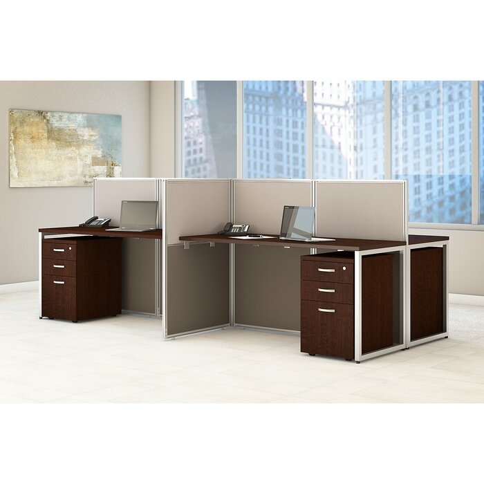 Easy Office 60W 4 Person L Shaped Desk