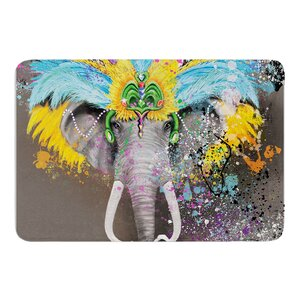 My Elephant with Headdress by Geordanna Cordero-Fields Bath Mat