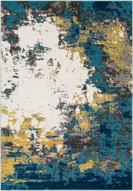 Beautiful Shuff Blue/Yellow Area Rug