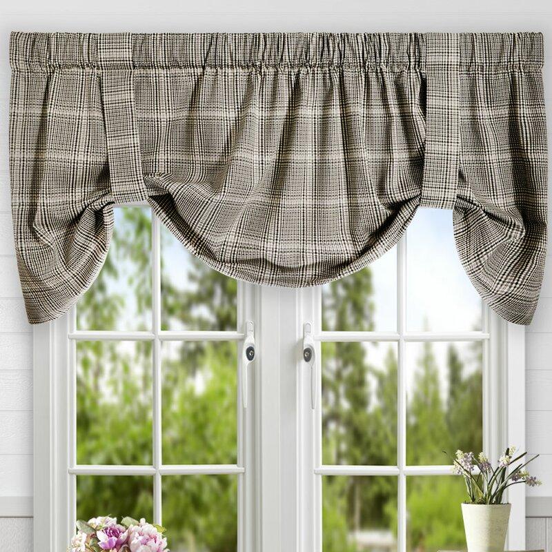 Ellis Curtain Morrison Plaid Cotton Tie-Up Curtain Valance & Reviews ...