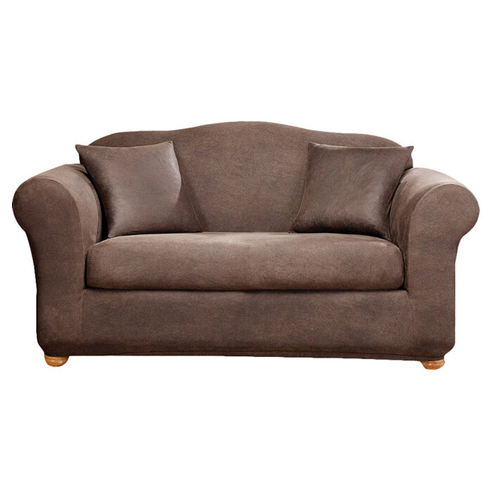 Sure Fit Stretch Leather Box Cushion Sofa Slipcover U0026 Reviews | Wayfair