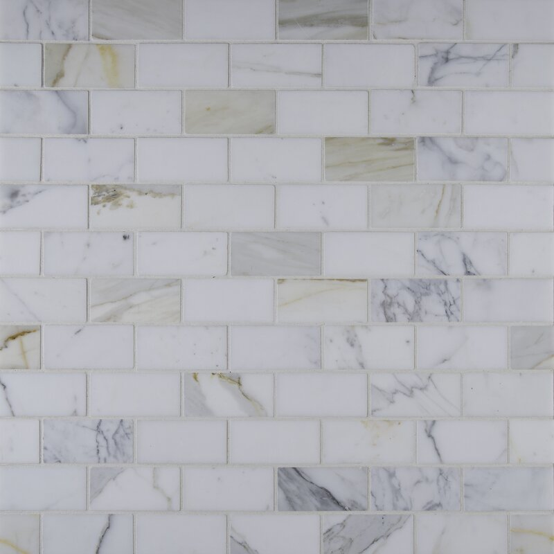 Msi Calacatta Gold Mounted 2 Quot X 4 Quot Marble Subway Tile In