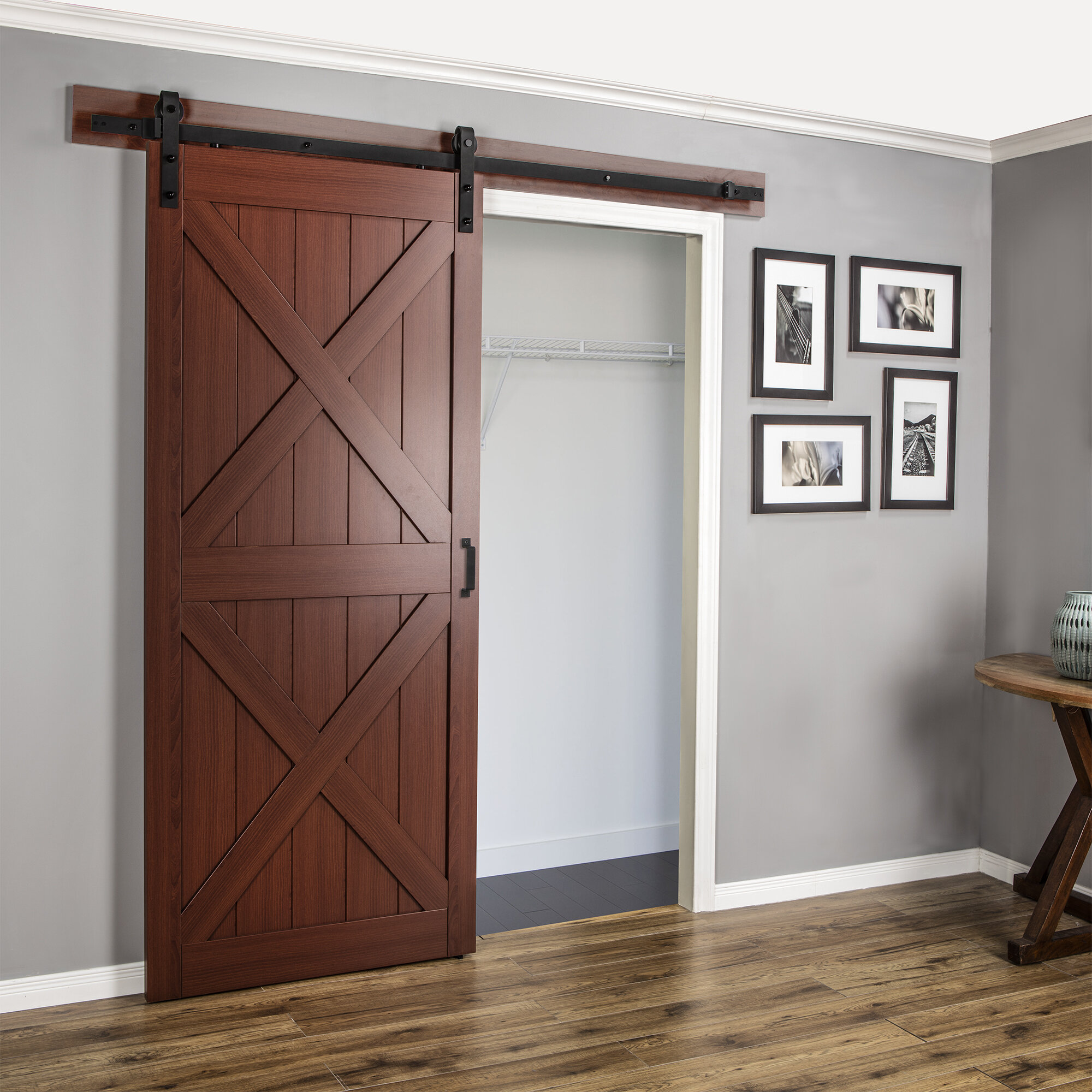 Erias Home Designs Continental MDF Engineered Wood 1 Panel Cherry Laminate Interior Barn Door Reviews