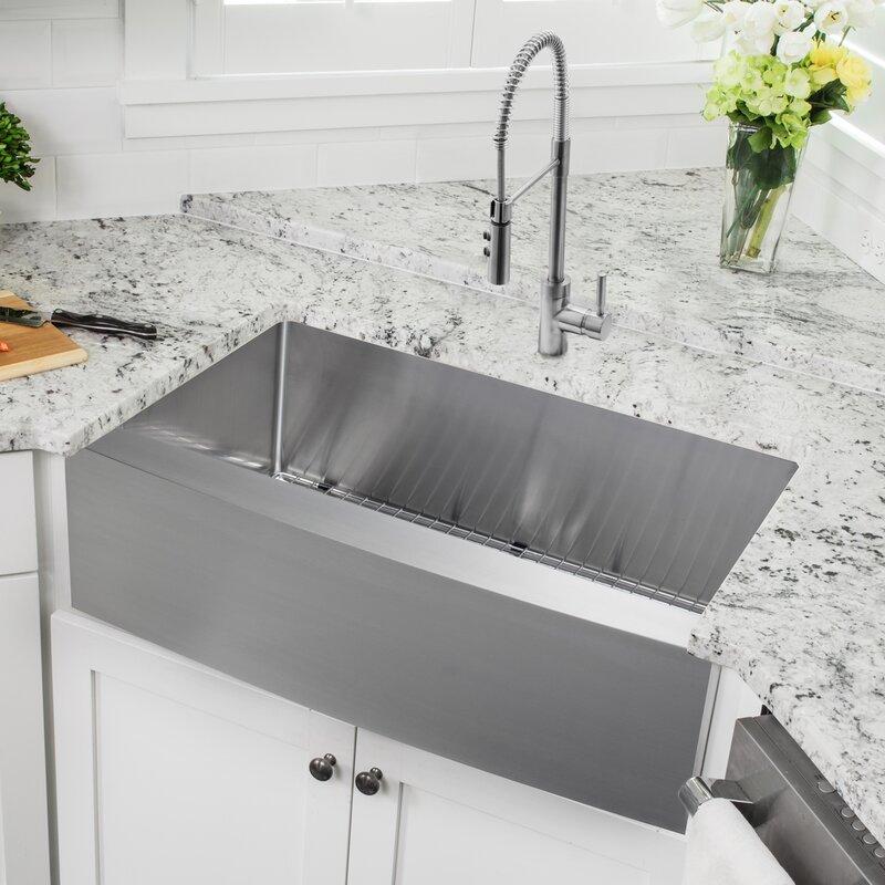 3288 l x 2057 w apron front single bowl undermount stainless steel kitchen sink - Undermount Stainless Steel Kitchen Sink