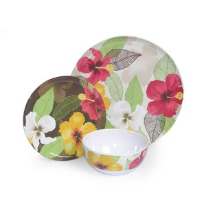 Melamine Hibiscus 3 Piece Place Setting Service for 1  sc 1 st  Wayfair & Unbreakable Resin Dinnerware | Wayfair