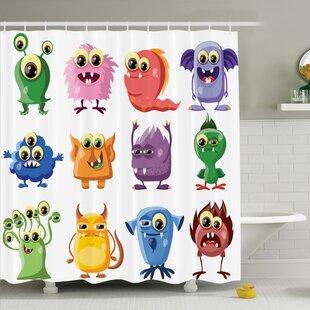 Kids Cartoon Alien Monsters Shower Curtain Set