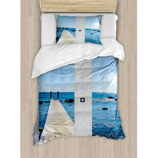 Beach Theme Coastal Decor Ocean Sea Sunny Scenery With Patio From Window Duvet Cover Set