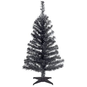 tinsel trees 3 black artificial christmas tree with plastic stand - Black Christmas Trees