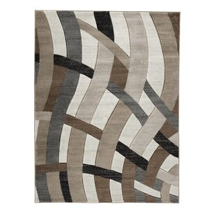 Reviews Meisner Brown/White Area Rug By Ivy Bronx