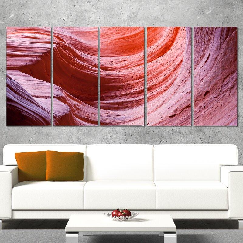 DesignArt Antelope Canyon Purple Wall 5 Piece Wall Art on Wrapped ...