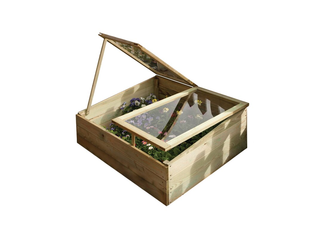 Rowlinson 1M W X 0.8M D Cold Frame Gardening Shelter Greenhouse Wood ...