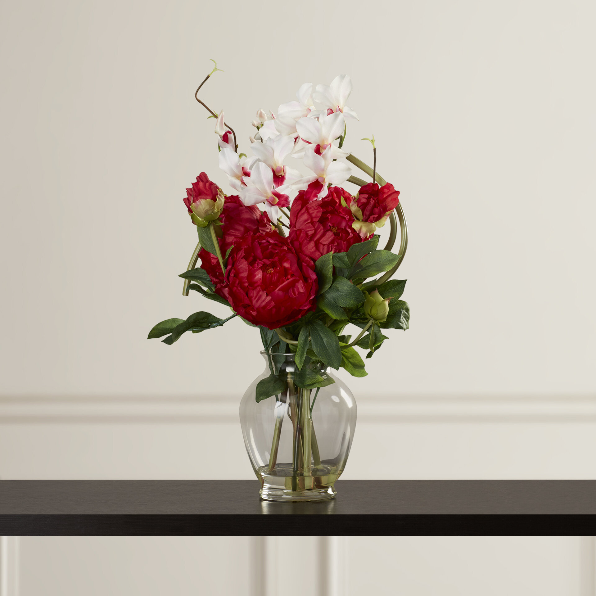 Alcott Hill Peony And Orchid Silk Flower Arrangement In Vase