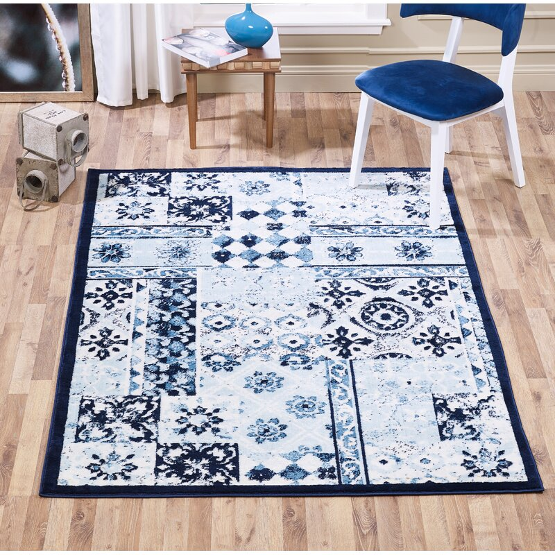 Bloomsbury Market Mcmillen Patchwork Blue Area Rug, Size: Rectangle 8 x 10