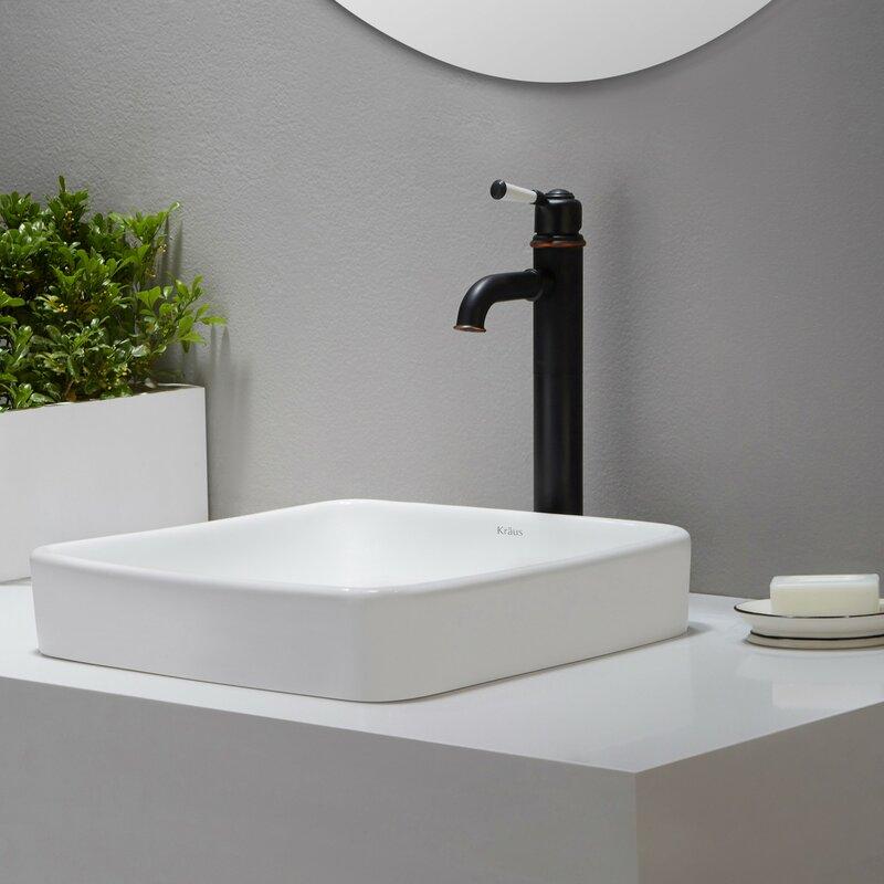 Kraus Elavo Ceramic Square Drop In Bathroom Sink With Overflow Reviews Wayfair