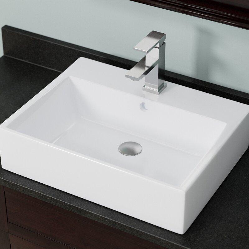 Mrdirect Vitreous China Rectangular Vessel Bathroom Sink