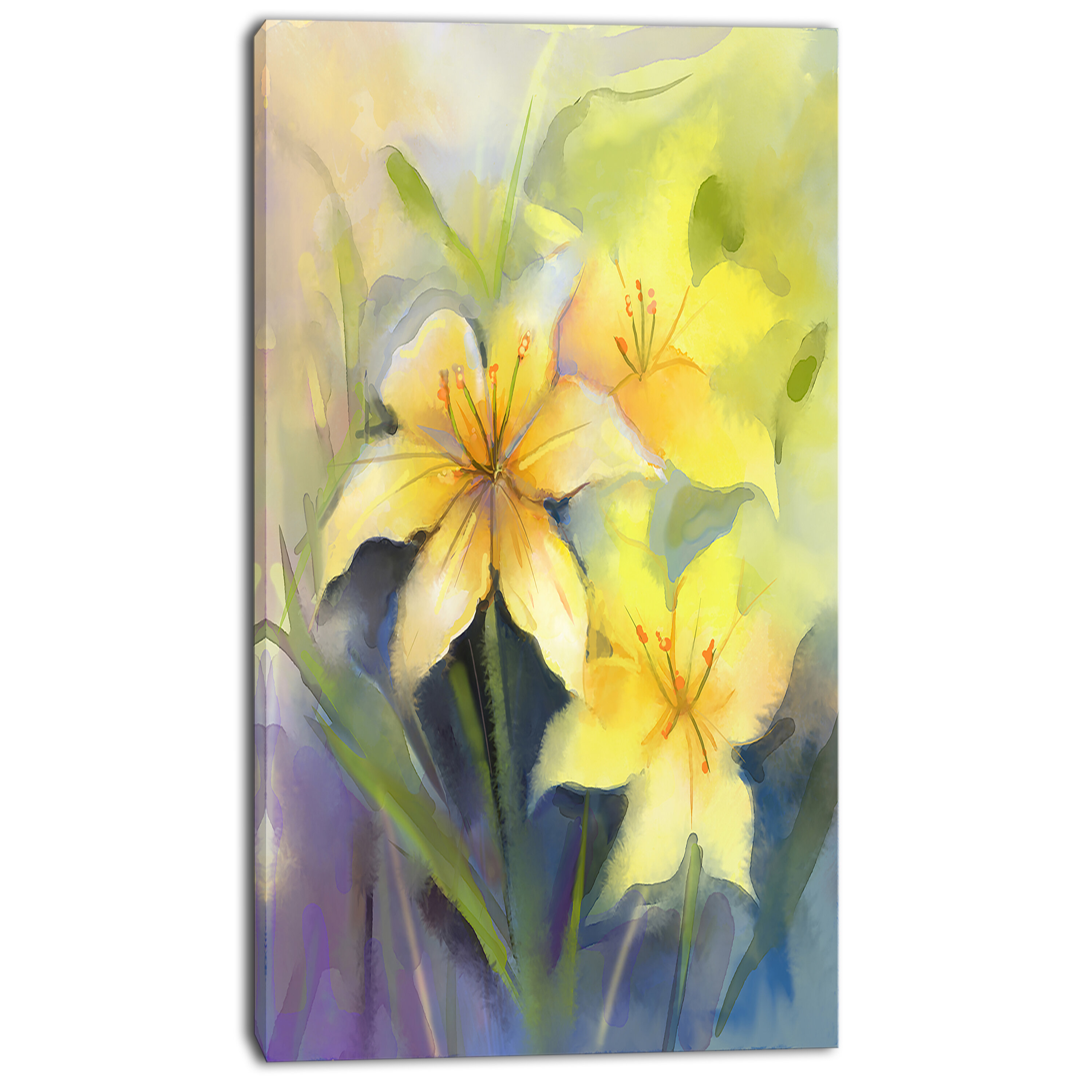 Watercolor Painting Yellow Lily Flower Painting Print On Wrapped Canvas
