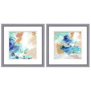 Abstract Swirl 2 Piece Framed Graphic Art Set