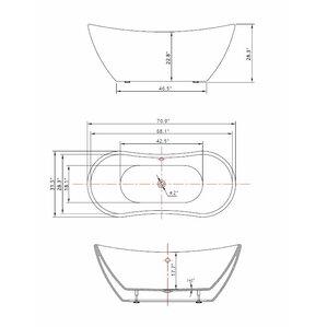 free standing tub dimensions. 71  x 31 5 Freestanding Soaking Bathtub Tubs