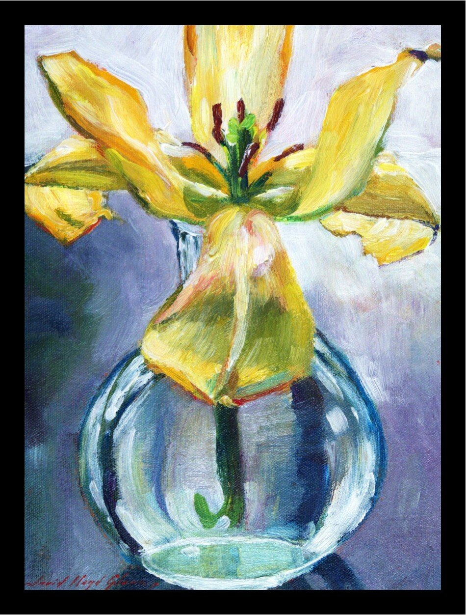 Yellow Lily Flower In Glass Vase Poster By David Lloyd Glover Framed Painting Print