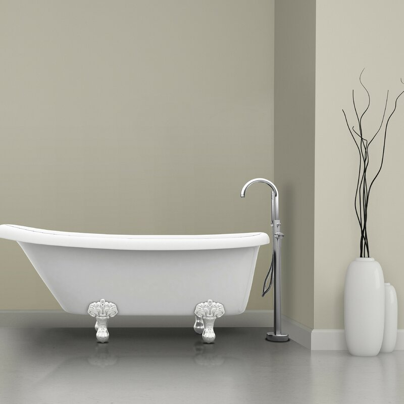 bathtub faucet. Prima Single Handle Floor Mount Bathtub Faucet with Shower Wand Ancona