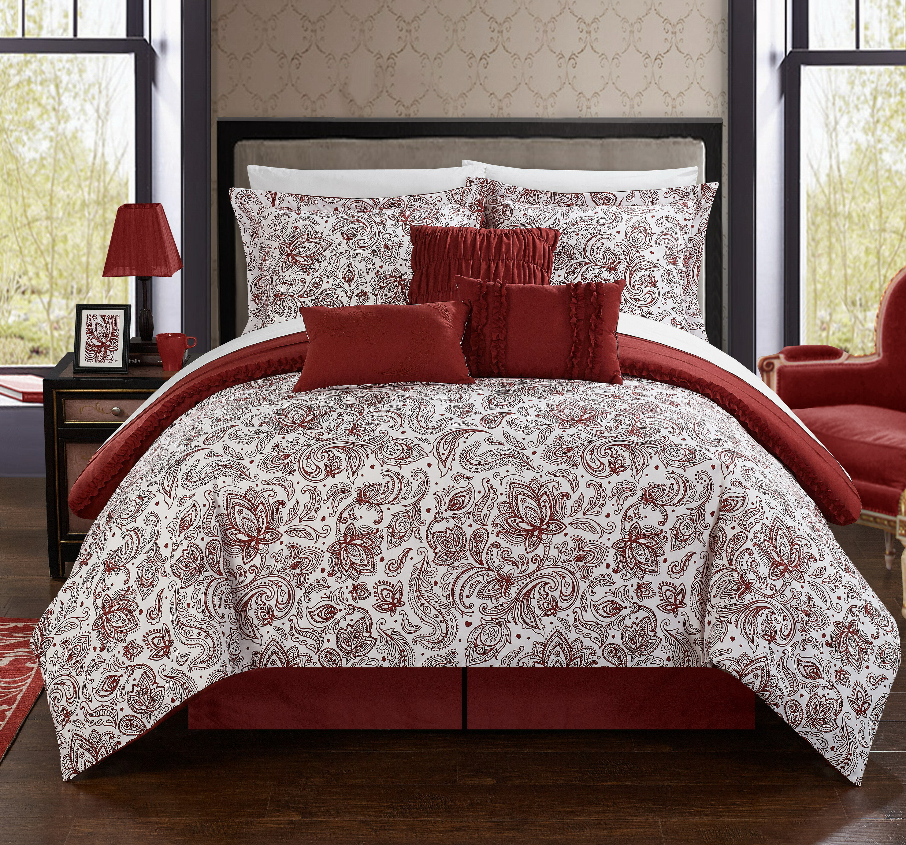 over bring ashley laura burgundy in sets free set purple on red shipping comforter orders pin ella