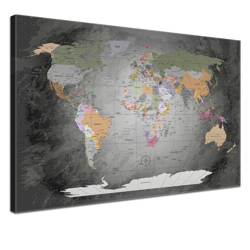 Lanakk world map framed graphic art print poster in grey world map framed graphic art print poster in grey gumiabroncs Images