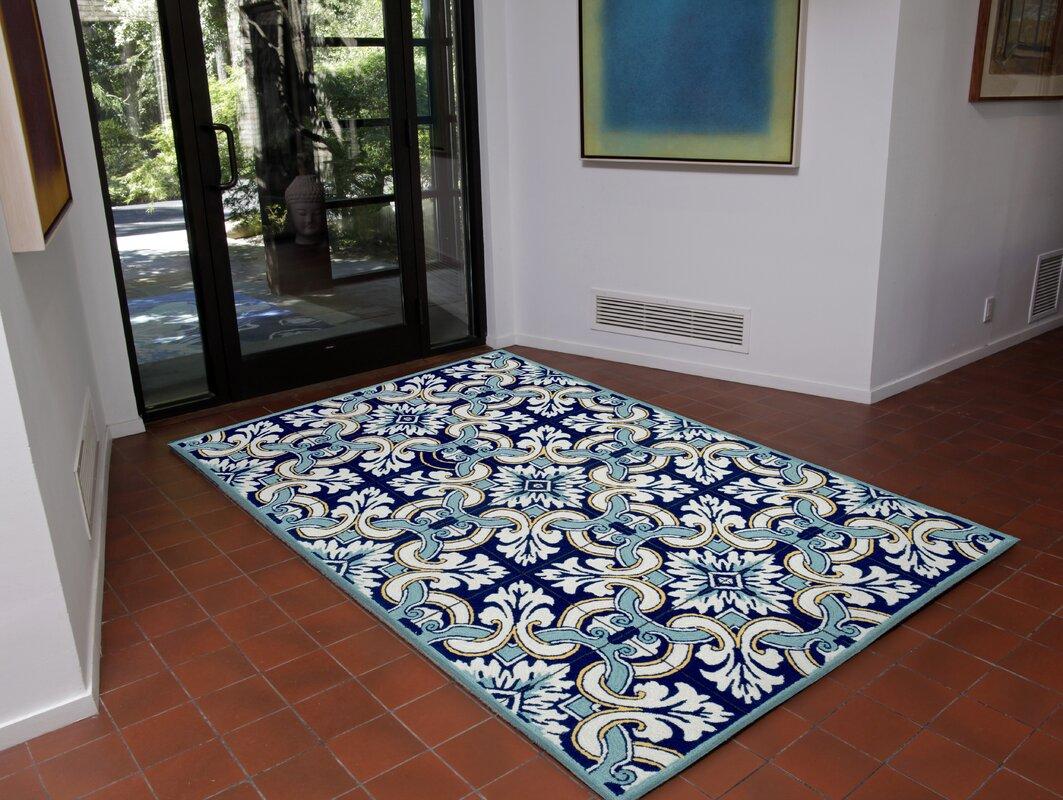 Bay Isle Home Demirhan Floral Tile Blue Area Rug Amp Reviews
