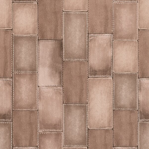 Walls Republic 33 X 208 Faux Stitched Leather Patchwork Tiles