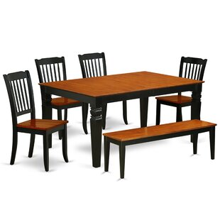 Kosinski 6 Piece Extendable Solid Wood Breakfast Nook Dining Set