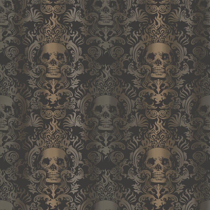 "Brewster Home Fashions Totally for Kids Luther Skull 33' x 20.5"" Damask Wallpaper"