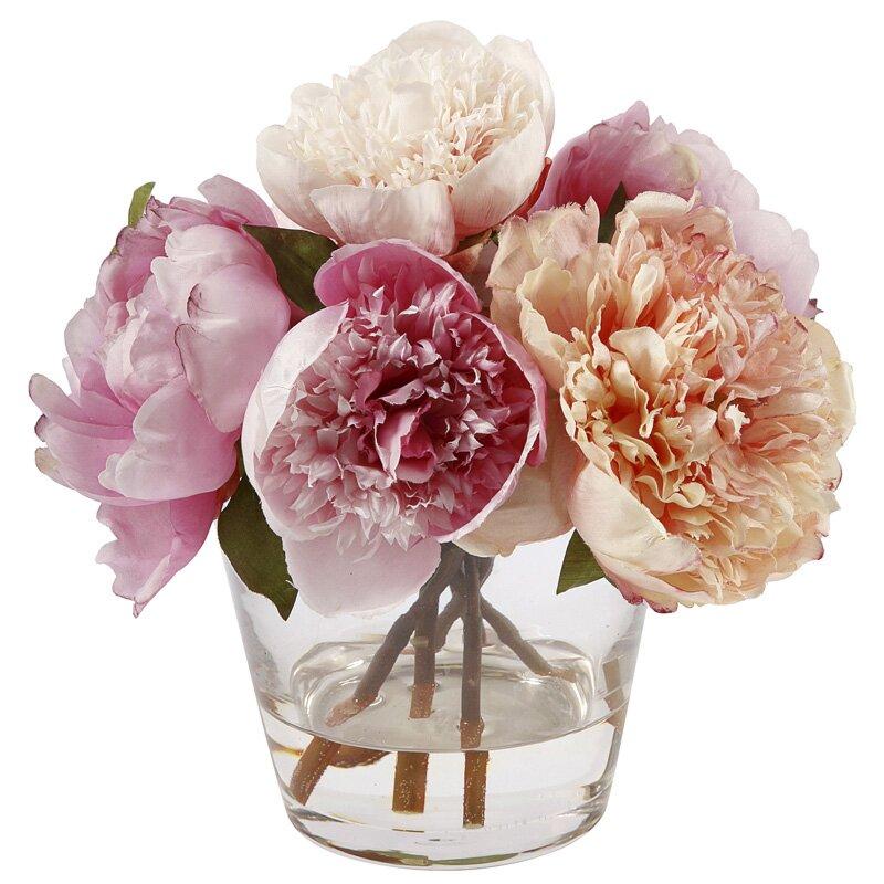 Peonies Floral Arrangement In Glass Vase Reviews Joss Main