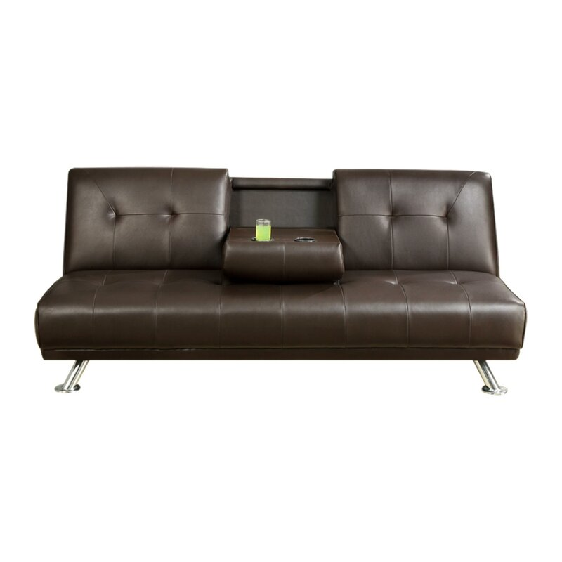 Lybarger Faux Leather Armless Adjustable Convertible Sofa with a Drop Down  Console