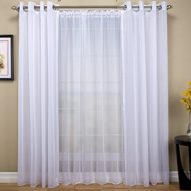 Tergaline Patio Solid Sheer Rod Pocket Single Curtain Panel