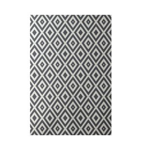 Geometric Dark Gray Indoor/Outdoor Area Rug
