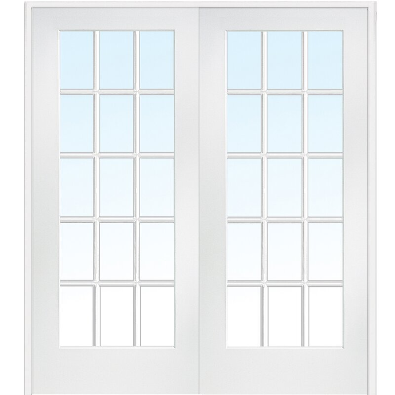 Beau Interior MDF Glass Prehung French Doors