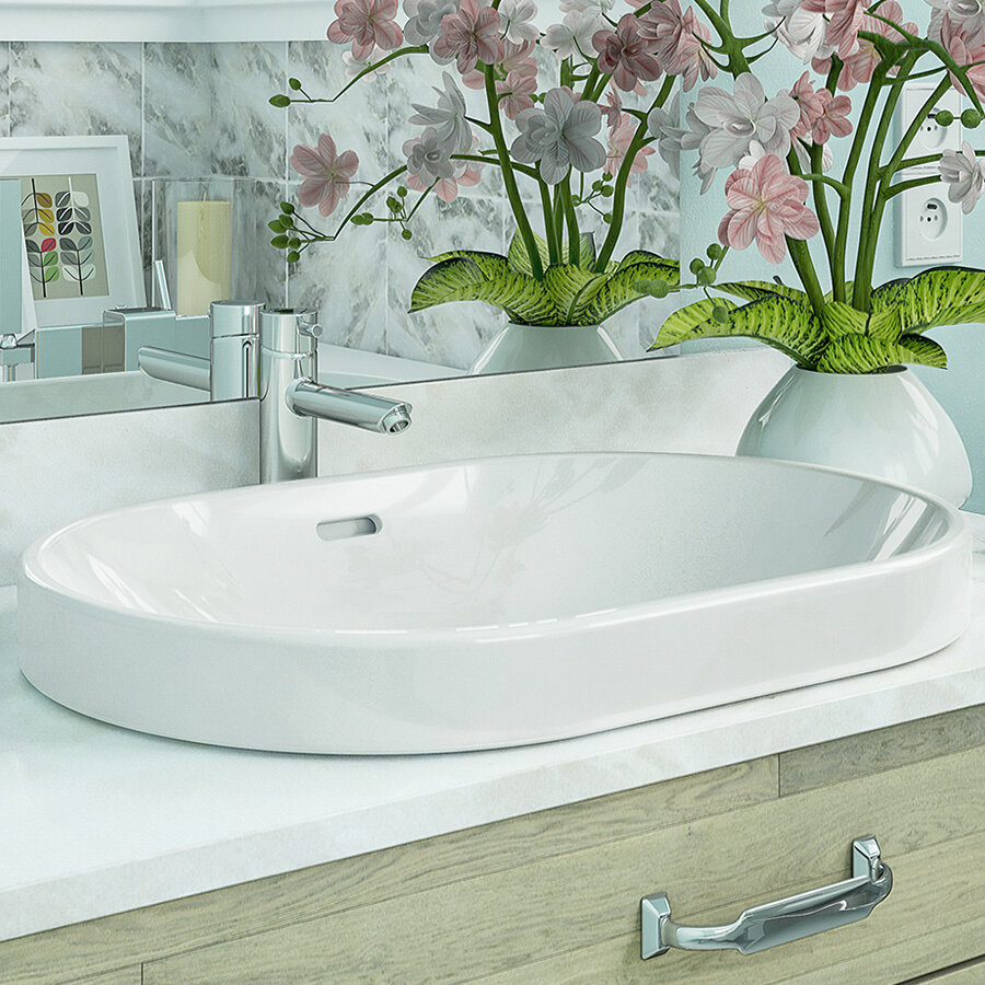 DECOLAV Ava Classically Redefined Ceramic Oval Vessel Bathroom Sink ...