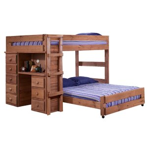 Choe Full Over Full L-Shaped Bunk Bed with Desk and Drawer