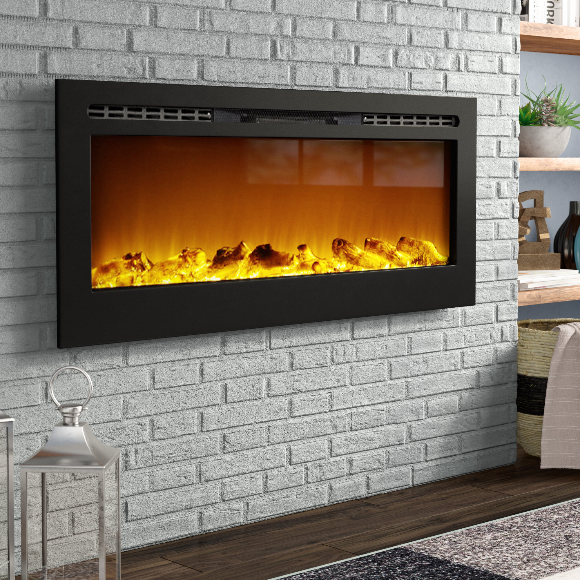 fireplace in electric lexington color p multi built regal ventless mounted recessed flame inch wall