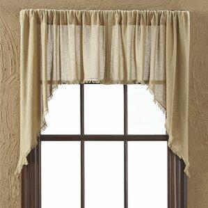Francoise Cloth Khaki Fringed Swag Curtain Valance (Set Of 2)