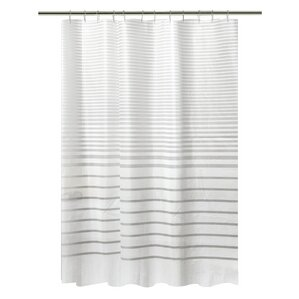 gray and white striped shower curtain. PEVA Stripe Design Shower Curtain Set Striped Curtains You ll Love  Wayfair