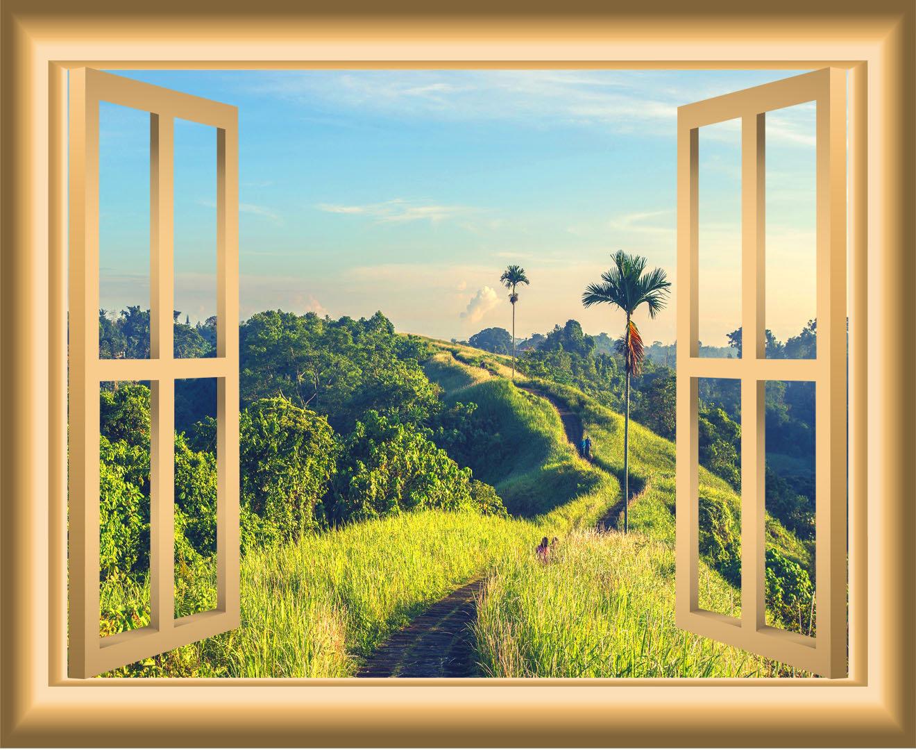 East Urban Home 3D Nature Field Window Wall Decal | Wayfair